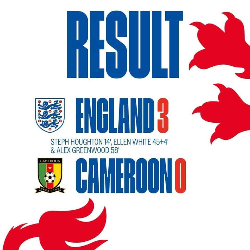Three Lionesses won beat Cameroon by 3:0.