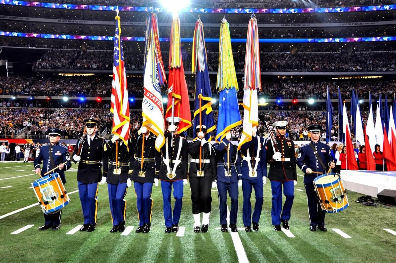 Armed Forces Color Guard at Super Bowl